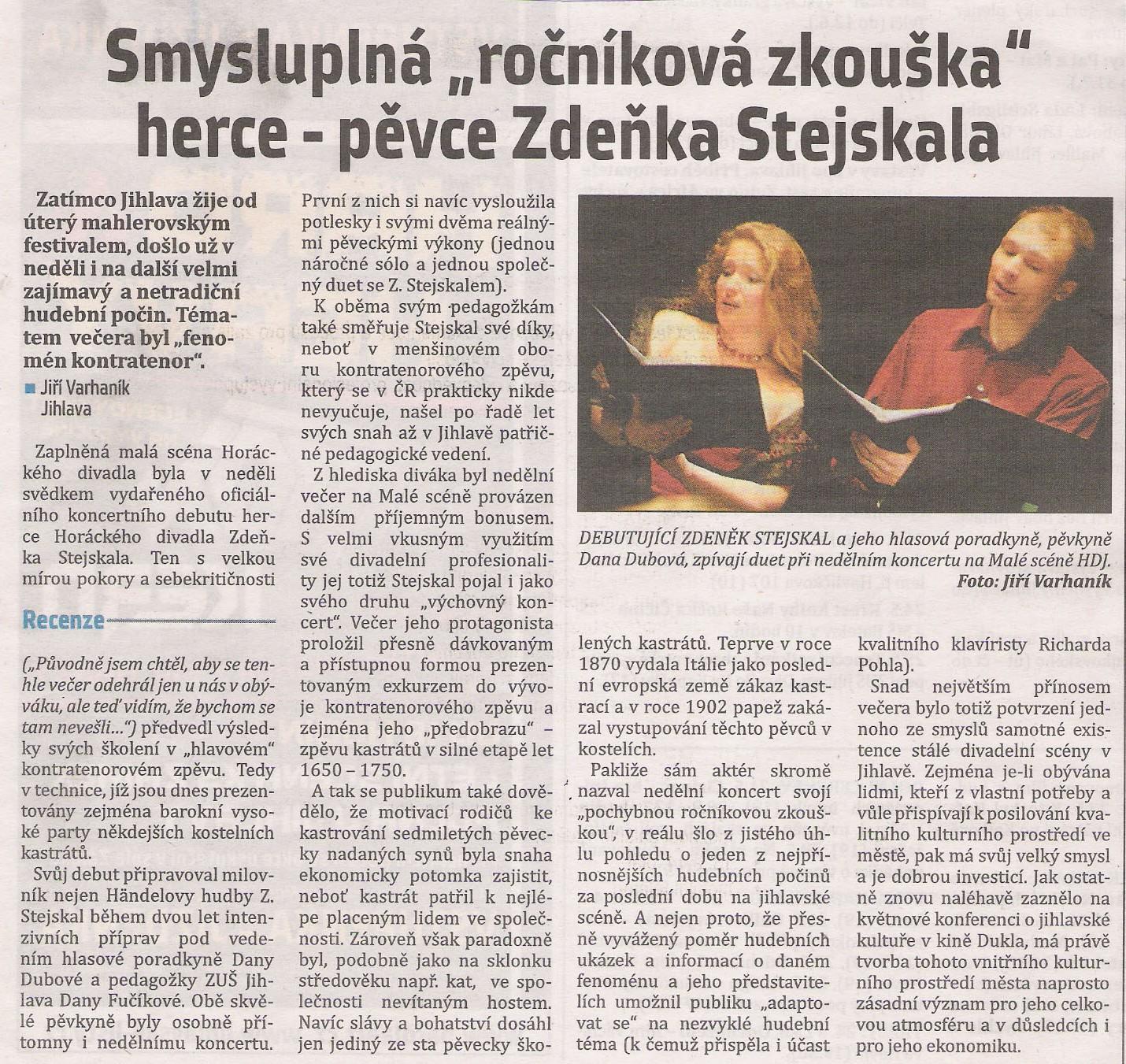 Recenze koncertu Jihl. listy 20.5. 2011